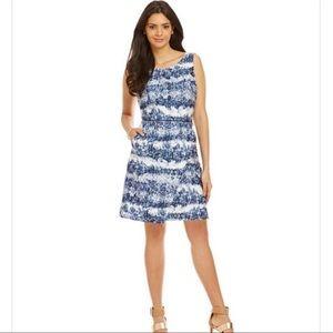 Katherine Kelly Blue & White pattern Dress 2